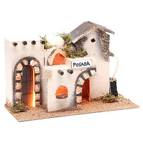 Nativity accessory, inn in cork with light measuring 27x12x18cm s3