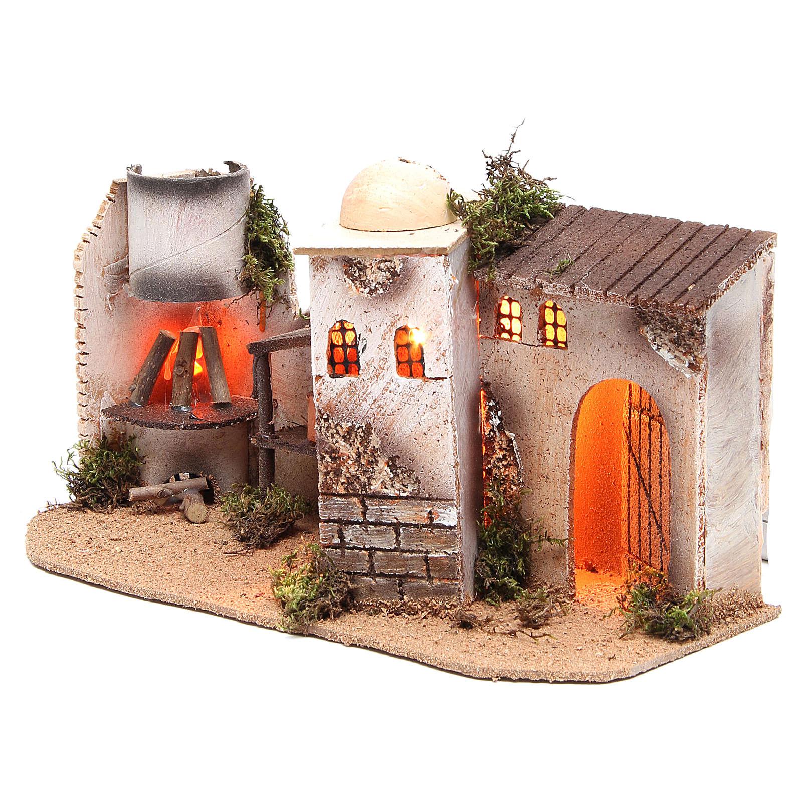 Maison avec éclairage et feu 35x15x16 cm 4