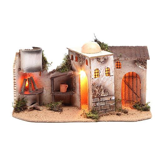 Maison avec éclairage et feu 35x15x16 cm 1