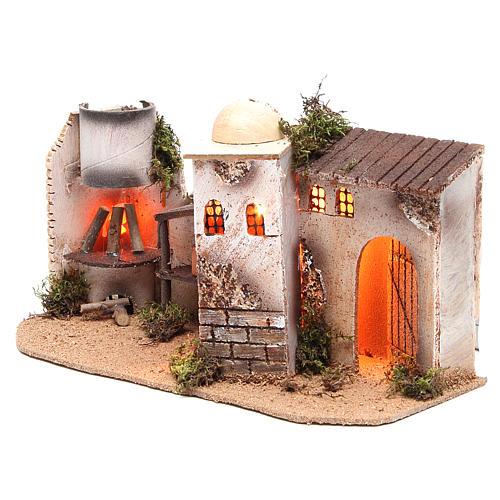 Maison avec éclairage et feu 35x15x16 cm 2