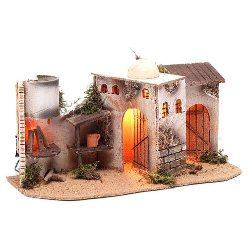 Maison avec éclairage et feu 35x15x16 cm 3