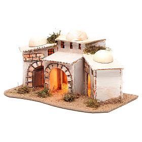 Composition of Arabian houses with light for nativity 28x18xh14cm s2