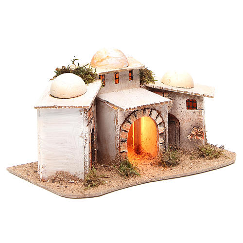 Composition of Arabian houses with light for nativity 28x18xh14cm 3