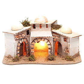 Composition of Arabian houses with light for nativity 28x18xh14cm s1