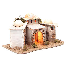 Composition of Arabian houses with light for nativity 28x18xh14cm s3