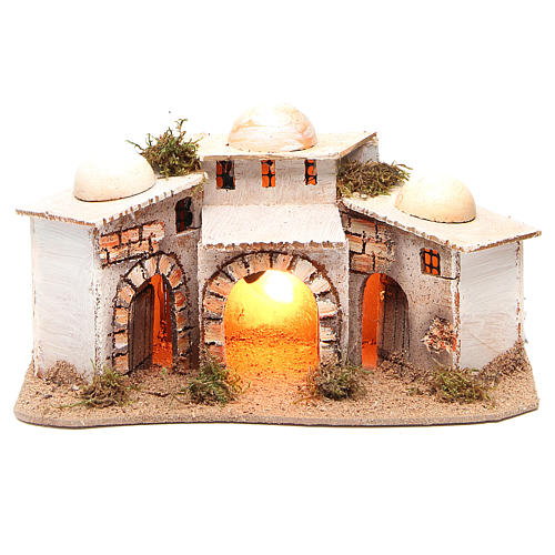 Composition of Arabian houses with light for nativity 28x18xh14cm 1