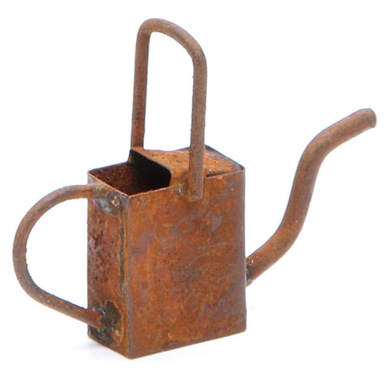 Regador antiquado em metal presépio 4