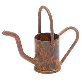 Watering can in metal with antique finish for DIY nativities s1