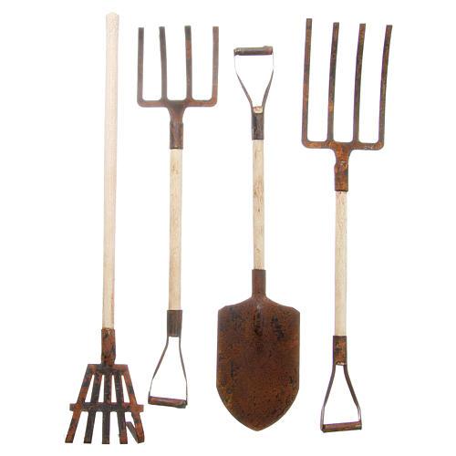 Gardening tools in metal for DIY nativities, 4pieces 1