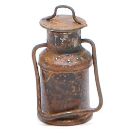 Metal bottle with cover, antique finish for nativities s1