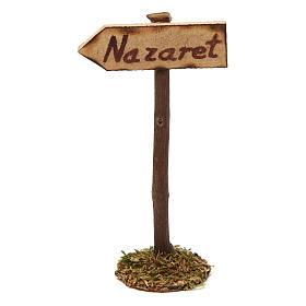 Ambientazioni, botteghe, case, pozzi: Cartello stradale per Nazareth per presepe