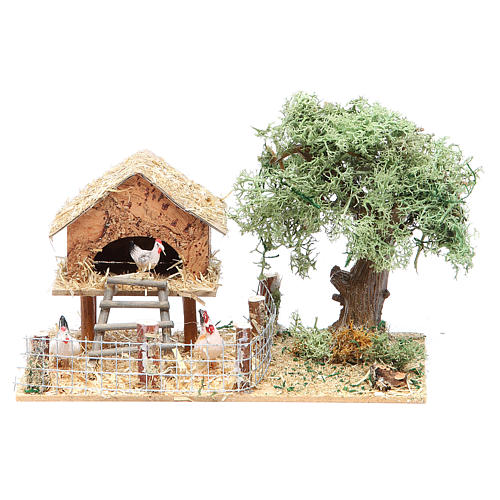 Hen house with hens 17x10x9cm 1