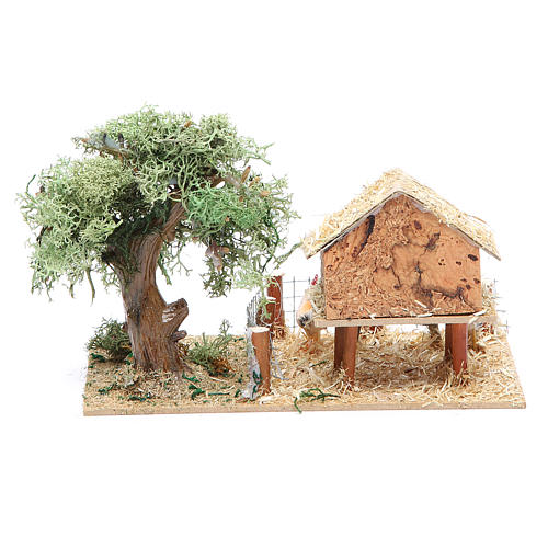 Hen house with hens 17x10x9cm 2