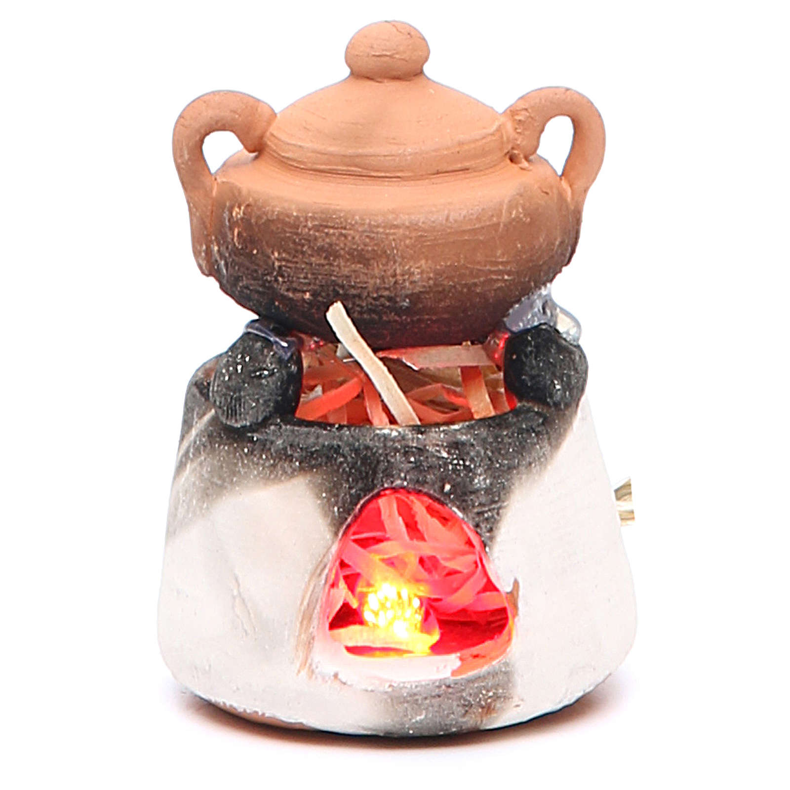 Ceramic oven with red light for nativities measuring 6cm 4