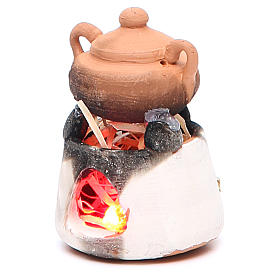 Ceramic oven with red light for nativities measuring 6cm s2