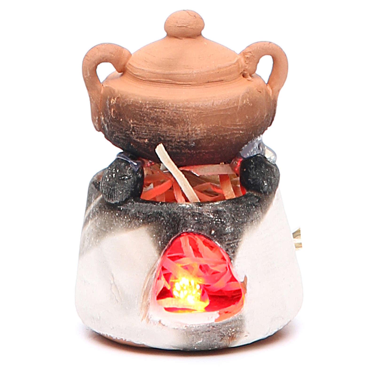 Forno in ceramica con luce rossa per presepe 4