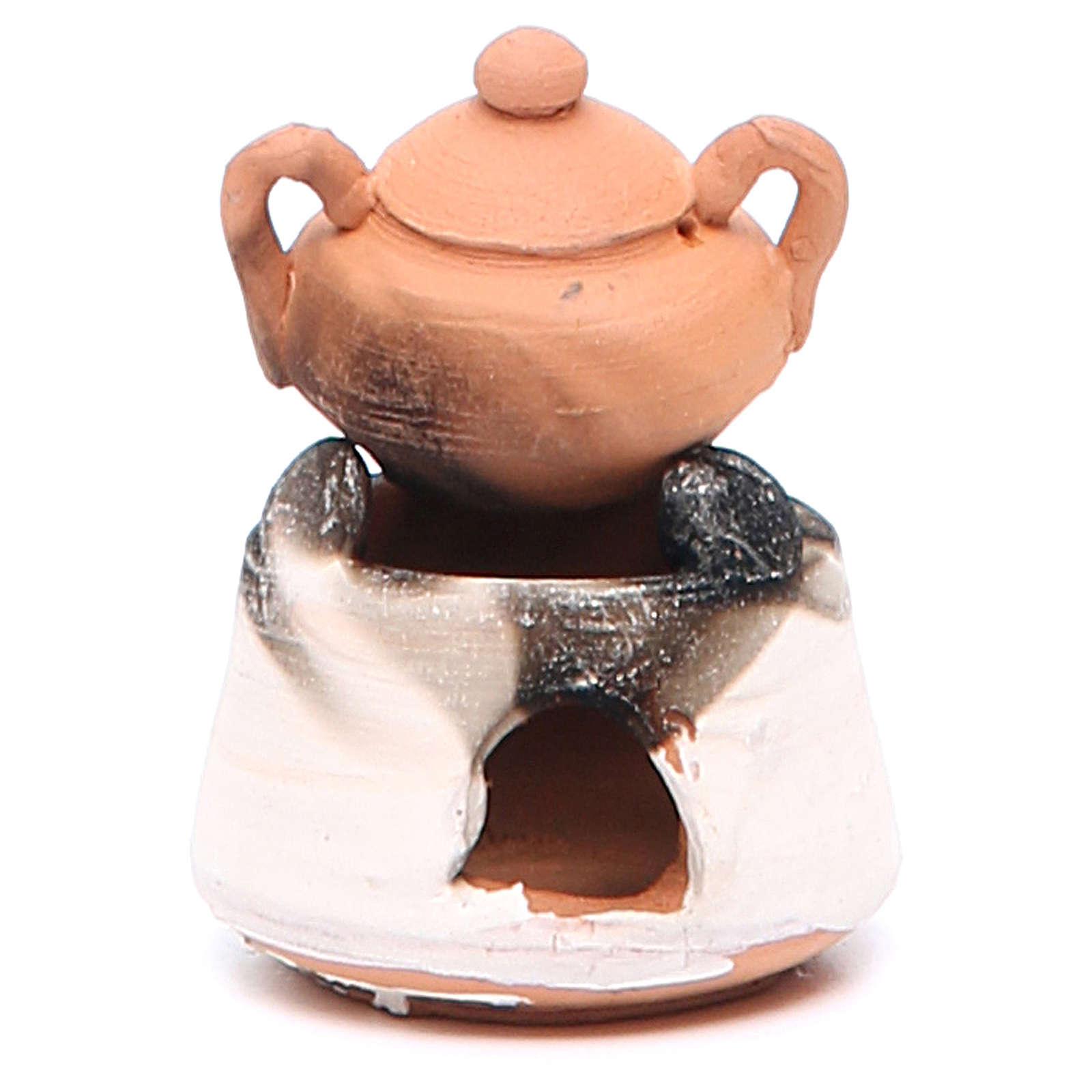 Forno in ceramica per presepe con pentola h. 5 cm 4