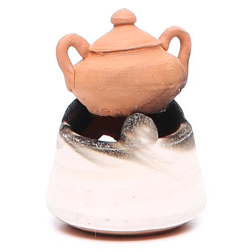 Forno in ceramica per presepe con pentola h. 5 cm 2