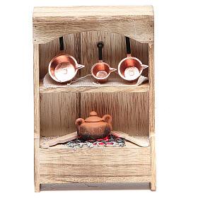 Cuisine en bois avec lumière et miniature 10x3x14 cm s1