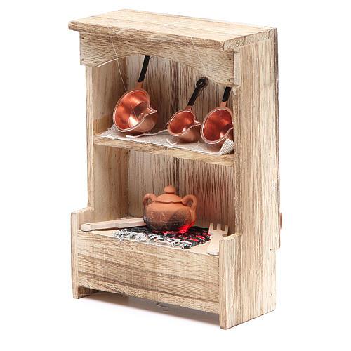 Cuisine en bois avec lumière et miniature 10x3x14 cm 2