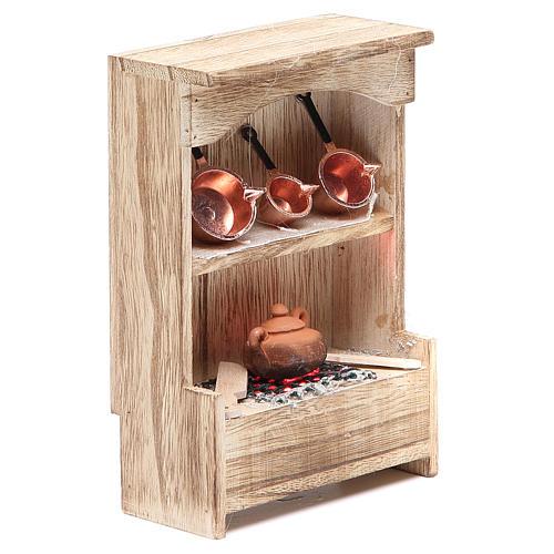 Cuisine en bois avec lumière et miniature 10x3x14 cm 3