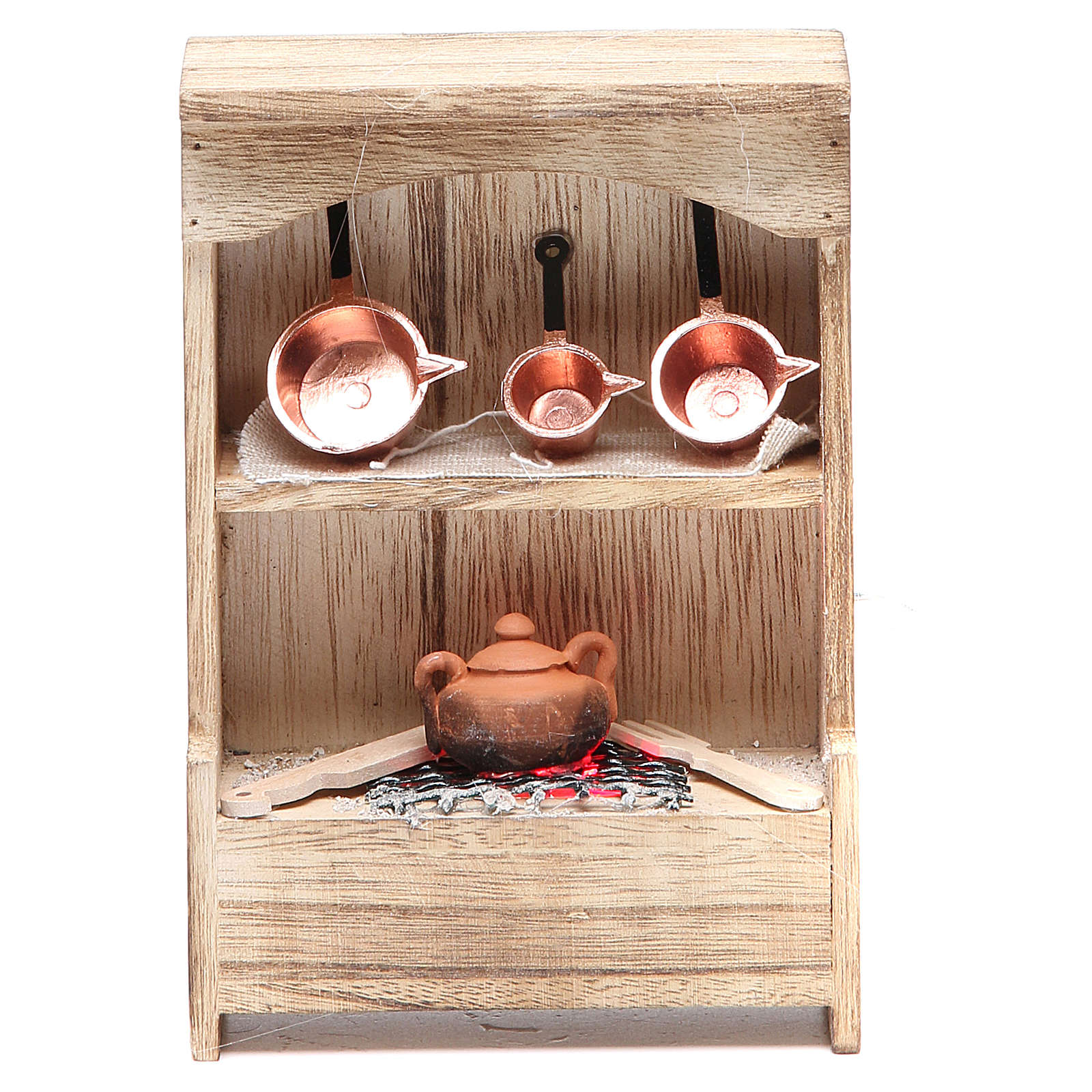 Kitchen in wood with light and miniature pans 10x3x14cm 4