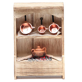 Kitchen in wood with light and miniature pans 10x3x14cm s1