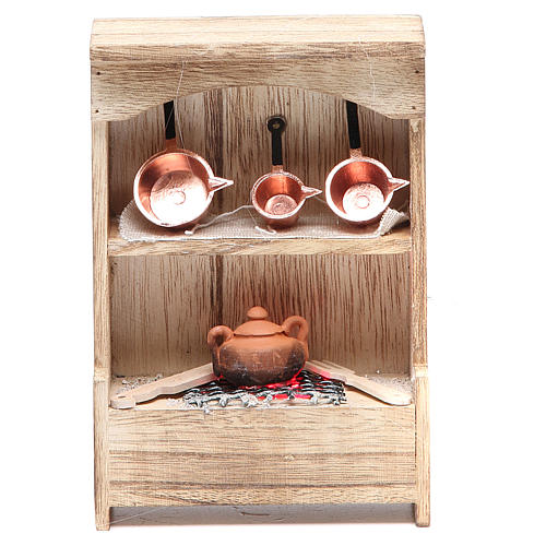 Kitchen in wood with light and miniature pans 10x3x14cm 1