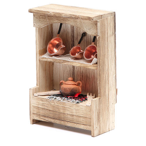 Kitchen in wood with light and miniature pans 10x3x14cm 2