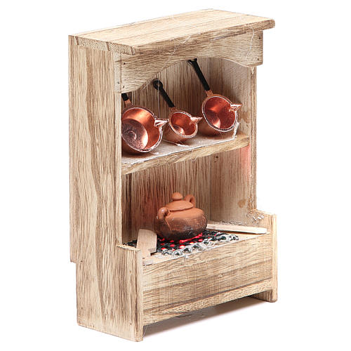 Kitchen in wood with light and miniature pans 10x3x14cm 3