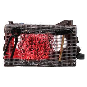 Brazier with fish and light, nativity accessory 5x10x5 cm s4