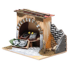 Fishmonger shop for nativities measuring 14x20x14cm s2