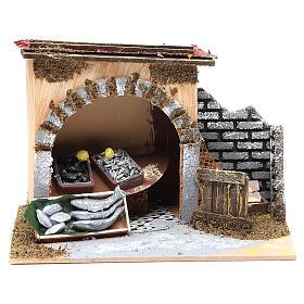 Maisons, milieux, ateliers, puits: Magasin du poissonnier pour crèche 14x20x14 cm