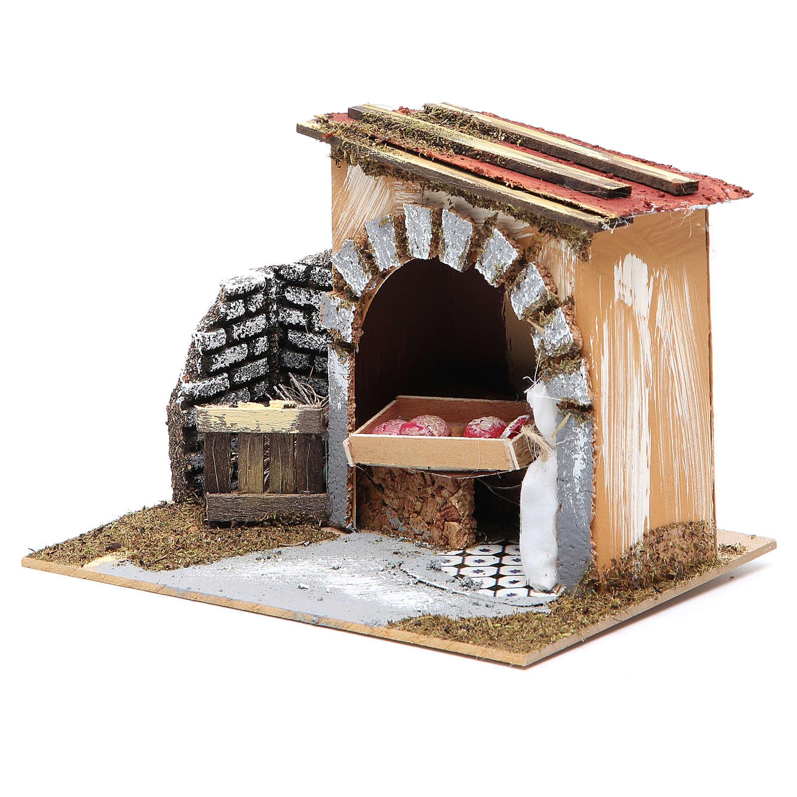 Baker's shop for nativities measuring 14x20x14cm 4