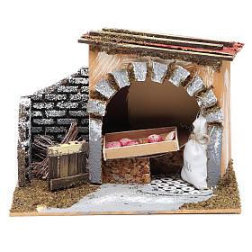 Ambientazioni, botteghe, case, pozzi: Bottega del panettiere 14x20x14 cm per presepe