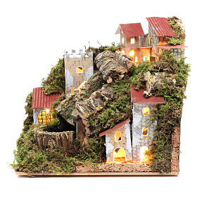 Bridges, streams and fences for Nativity scene: Nativity village with waterfall 18x20x14cm