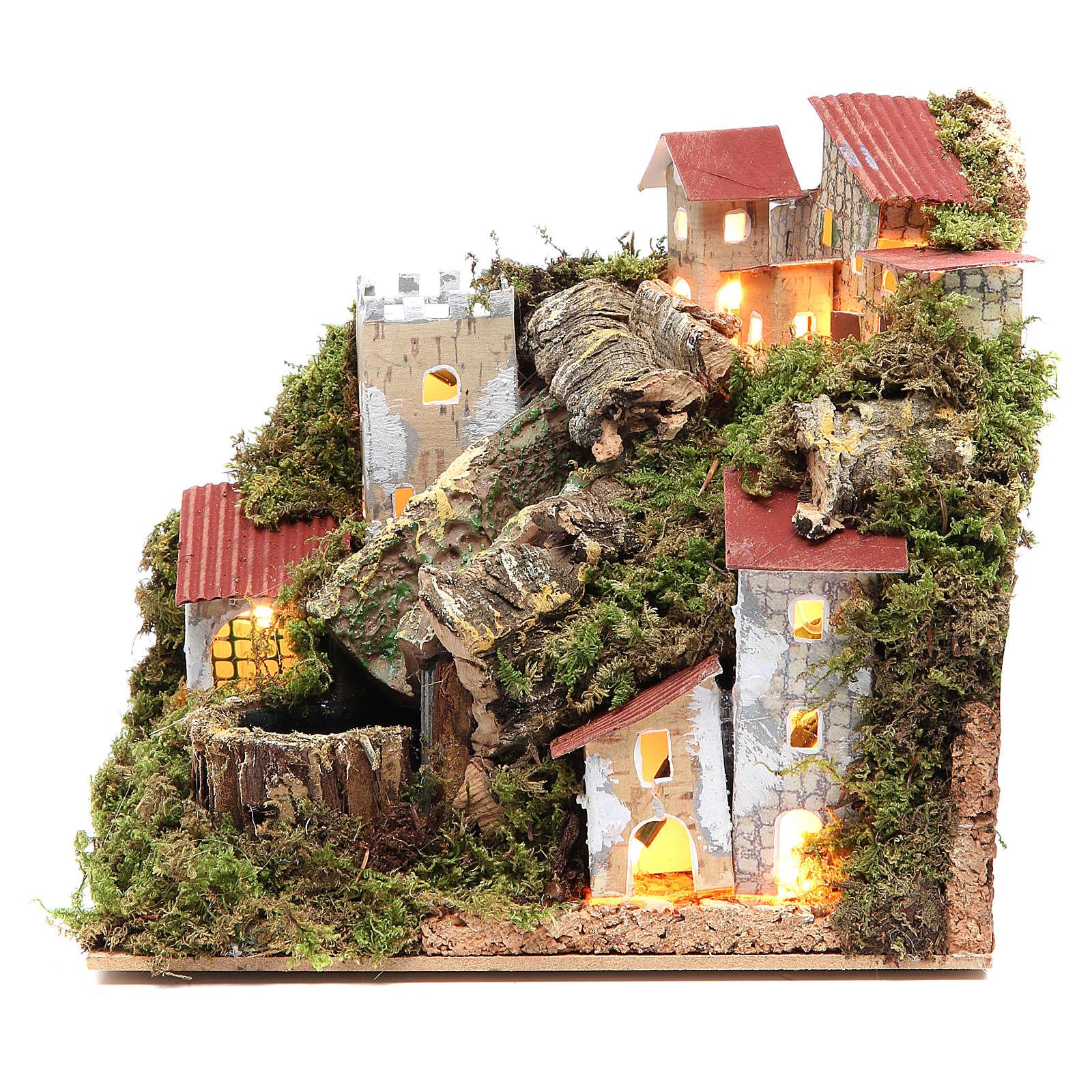 Borgo del presepe con cascata 18x20x14 4