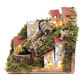 Borgo del presepe con cascata 18x20x14 s1