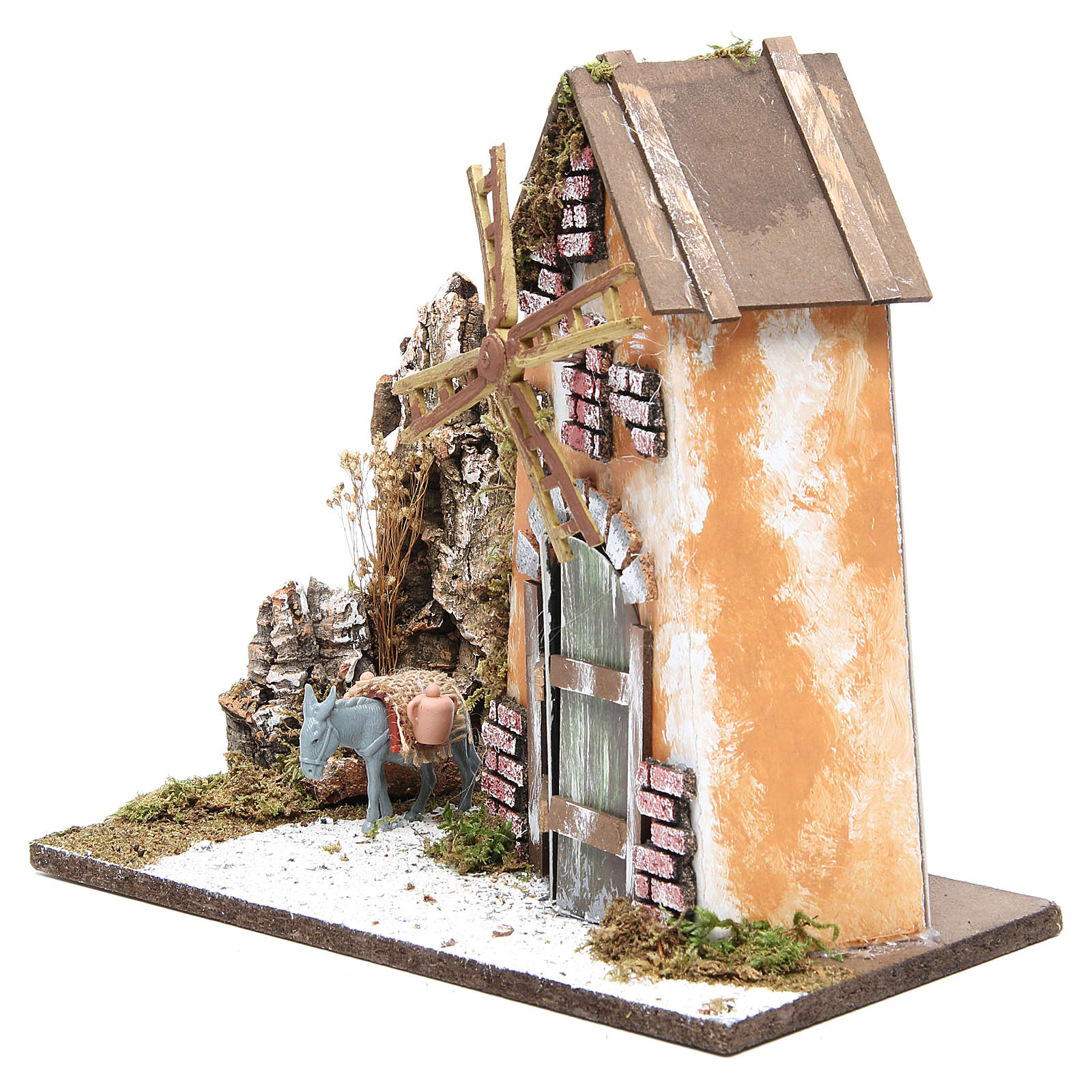 Wind mill for nativities measuring 30x33x18cm with donkey 4