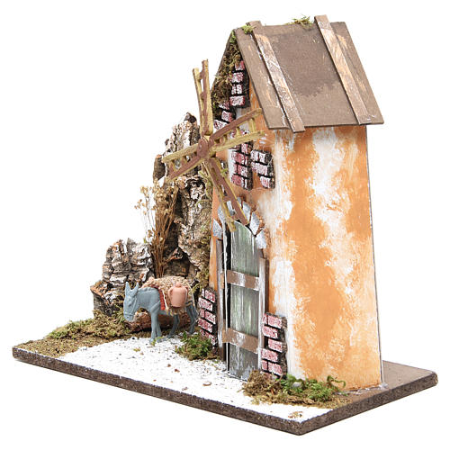 Wind mill for nativities measuring 30x33x18cm with donkey 2