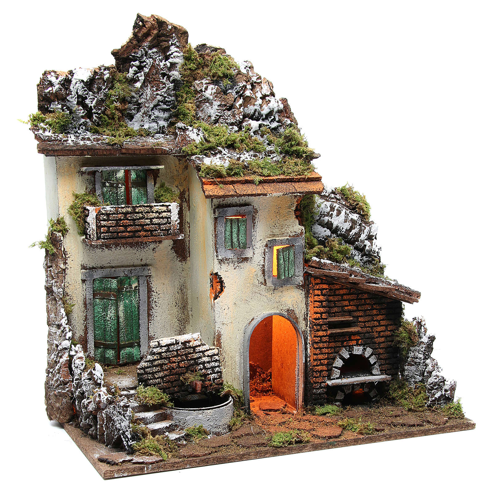Borgo con capanna presepe cm 55x50x35 con luce fontana forno 4