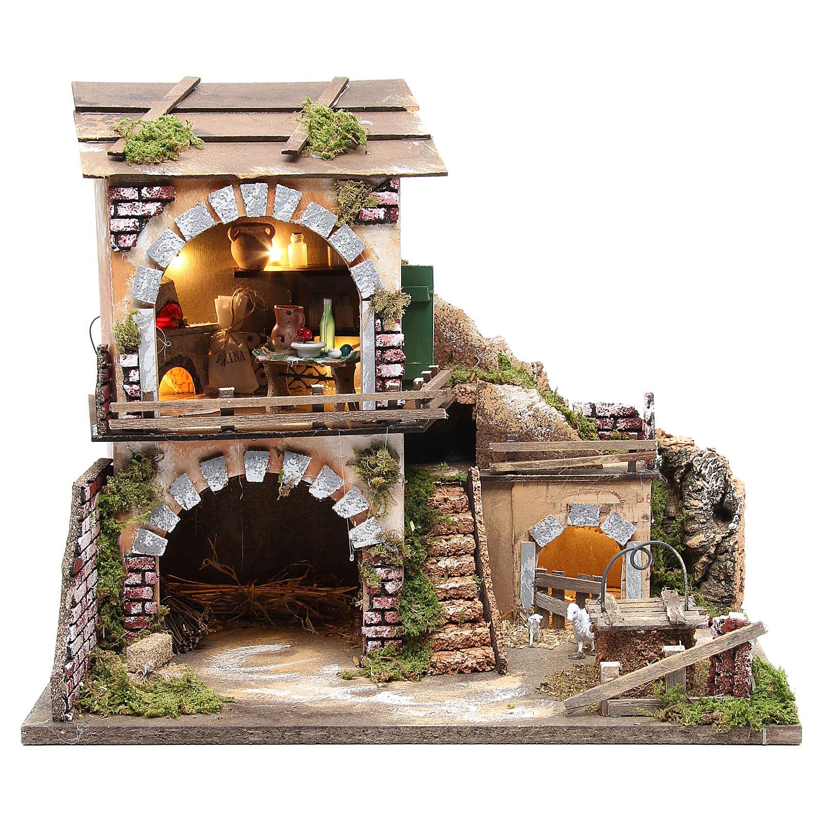 Village crèche et cabane 38x45x30 avec four et 10 lumières 4