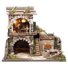 Village crèche et cabane 38x45x30 avec four et 10 lumières s1