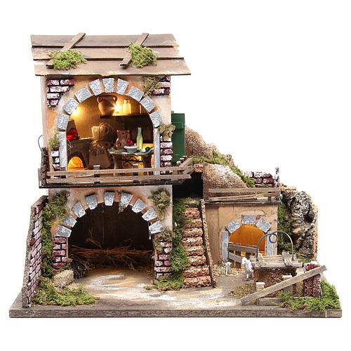 Village crèche et cabane 38x45x30 avec four et 10 lumières 1