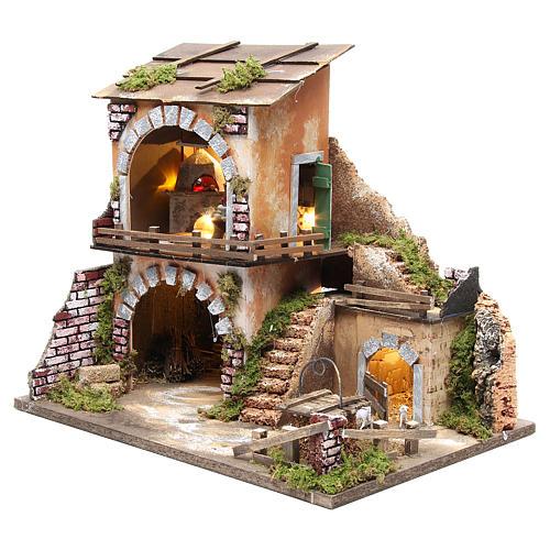 Village crèche et cabane 38x45x30 avec four et 10 lumières 2