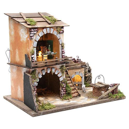 Village crèche et cabane 38x45x30 avec four et 10 lumières 3