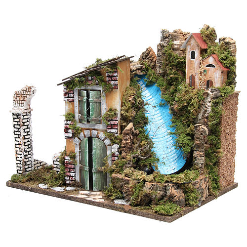 Holyart Nativity Farmhouse with 10 Battery Lights and Waterfall 36x45x30cm