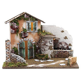 Nativity farmhouse with 10 battery lights and water mill 32x45x30cm s1