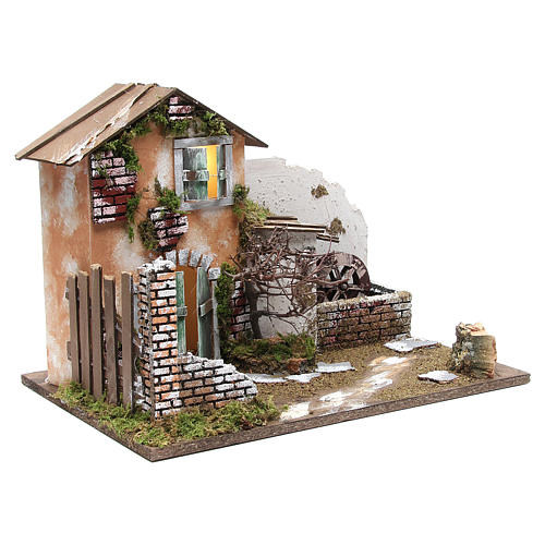 Nativity farmhouse with 10 battery lights and water mill 32x45x30cm 3