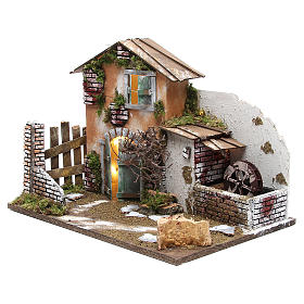 Nativity farmhouse with 10 battery lights and water mill 32x45x30cm s2
